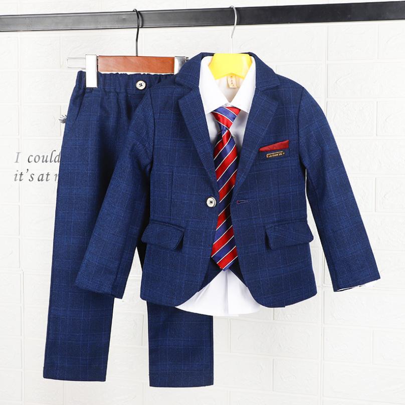 Ensembles de Blazer pour enfants vêtements bébé garçon fête de mariage robe de mariée Blazer + gilet + chemise + pantalon ensembles simple bouton Plaid costume Y369