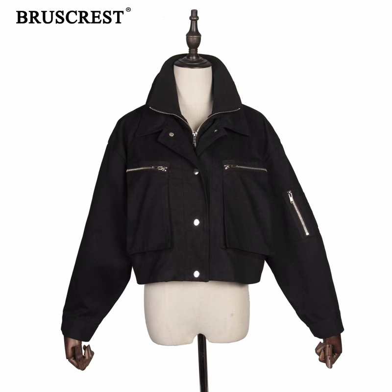 Spring coats and jackets women Zippers black military army bomber jacket ladies punk jackets Autumn clothes 2019 streetwear