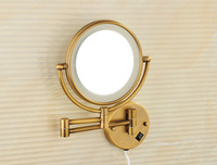 Bathroom Mirror, 8 Inch LED Lighted MakeUp Magnify Mirror, 3X / 5X magnification, Swivel Arm, Antique Bronze, Solid Brass