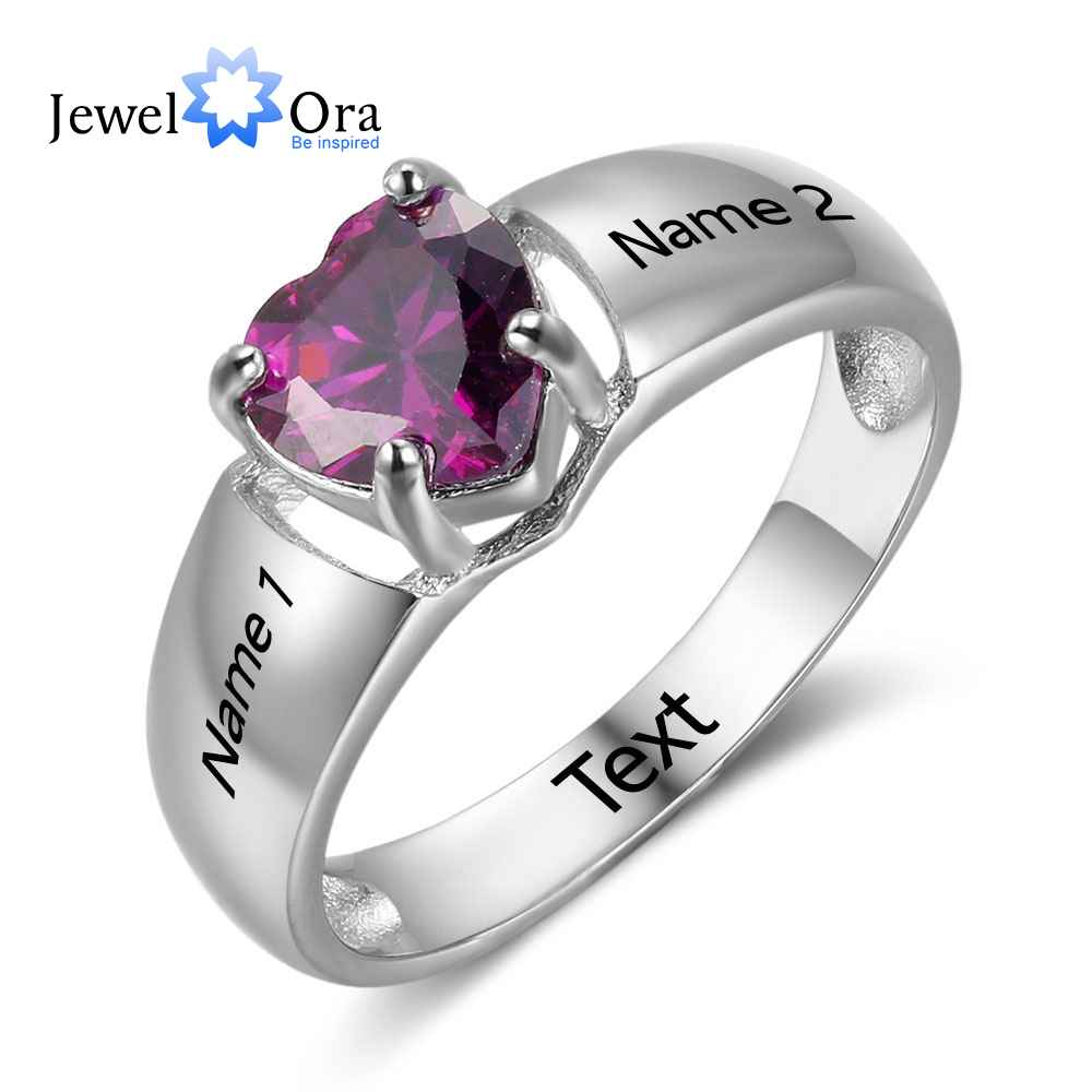 Jewelora Birthstone Ring Engagement-Rings 925-Sterling-Silver Love New Name Heart RI102732