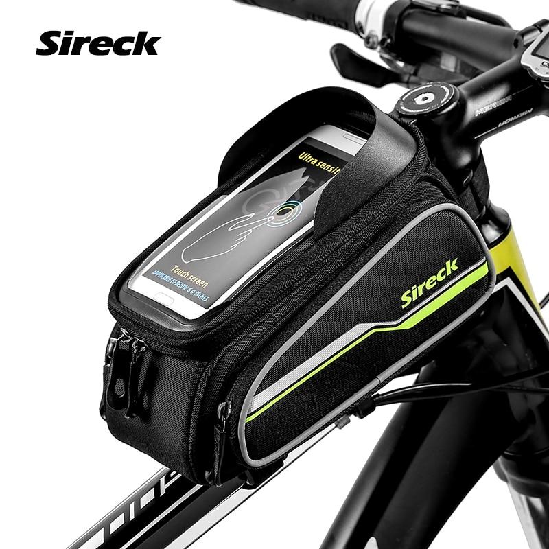 Sireck MTB Bike Bag 6 Touchscreen Bicycle Frame Saddle Bag Cycling Top Tube Bag font b