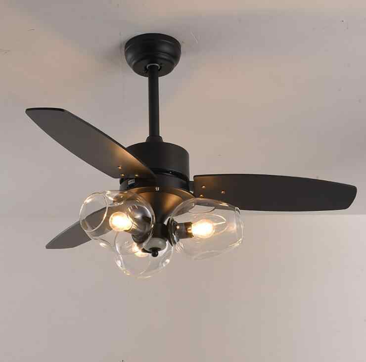 Led Ceiling Fan Light Black Nordic