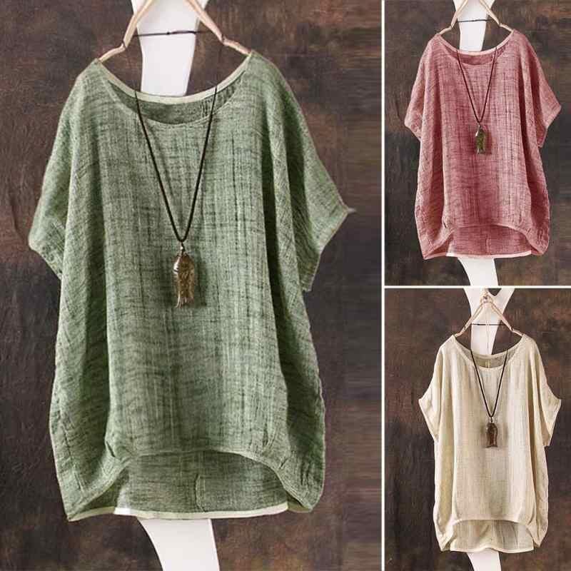 1e94f288883f Plus Size Vintage Women Ladies Casual Baggy Cotton Linen T-Shirt Short  Sleeve Tops