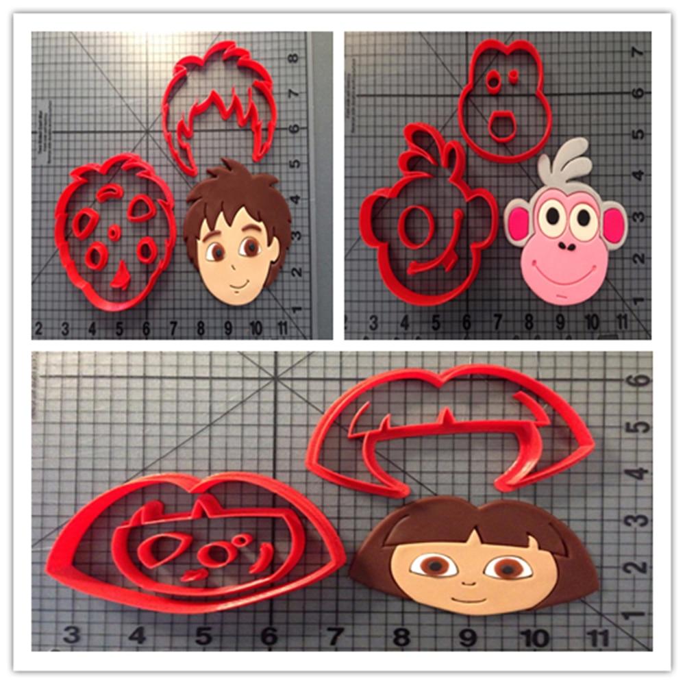 Čínská / anglická dvojjazyčná karikatura TV Dora Explorer charakter Fondant Biscuit nástroje vyrobené 3D tisk Cookie Cutter Set