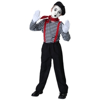 Child Marvelous Artist Hush Mime Black White Circle Clown Halloween Party Fancy Dress