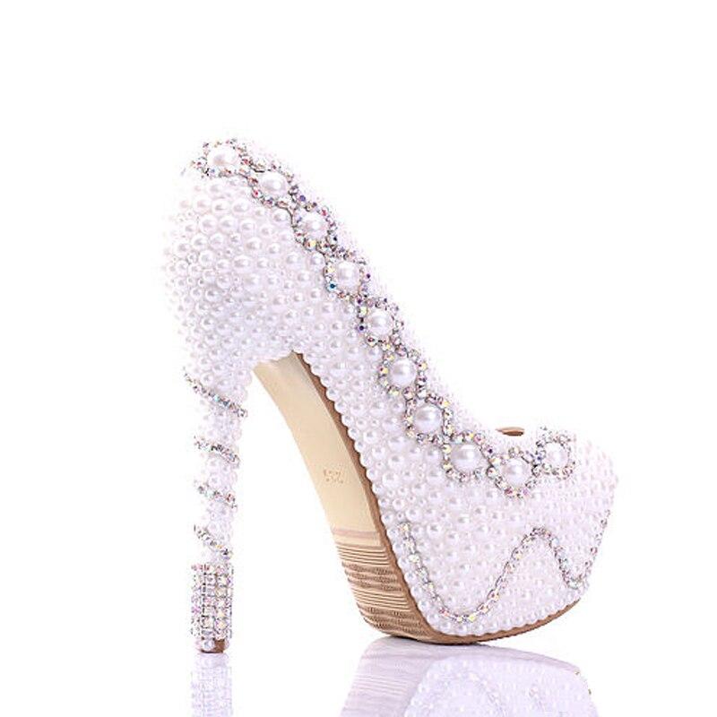 Il trasporto Libero 2018 Bianco Perla Splendida Festa di Nozze Scarpe Colorate Scarpe Abito Da Sposa di Buona Qualità Delle Donne Dell'alto Tallone Prom Pompe - 4