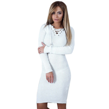 NEW-Women Spring Autumn Lace Up Knitted Dress Sexy Deep V Neck Long Sleeve Bandage Women Dresses Christmas Party Dress