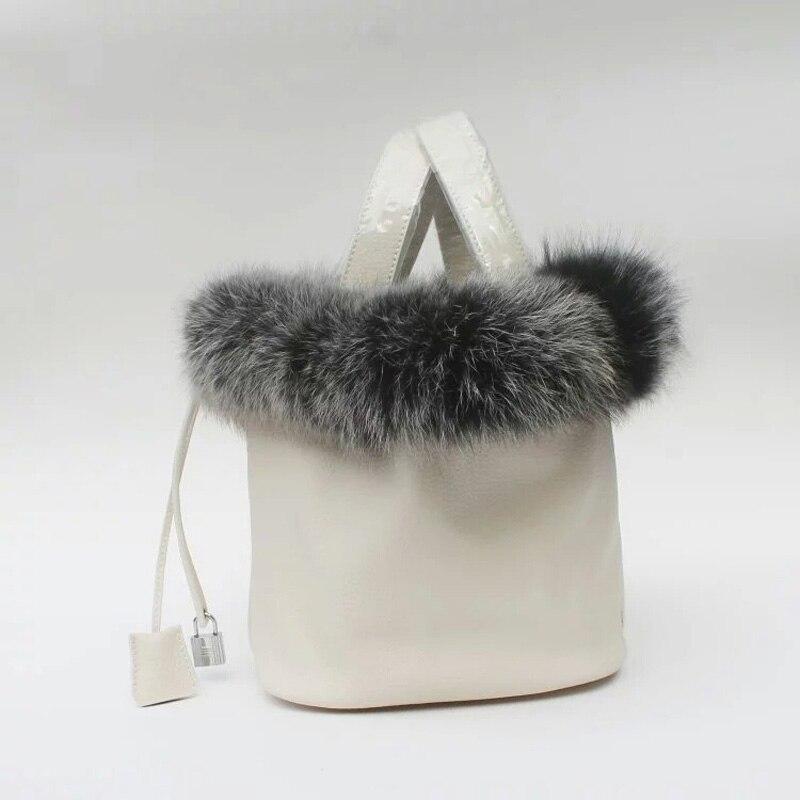 Mulheres de luxo Saco Famoso Projeto de Couro Genuíno das mulheres bolsa de pele de coelho cabelo corda balde bolsa de ombro elegante saco da neve do inverno