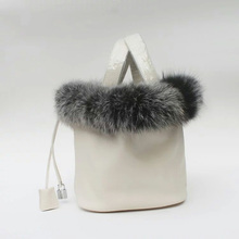 Роскошные женщины сумку известного Дизайн из натуральной кожи женские сумки кролика волосы меха строка Ведро Сумка Элегантные зимние сумка