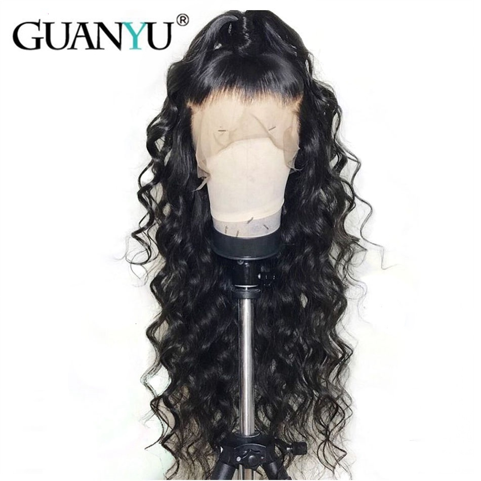 150% Density Deep Wave 13*4 Lace Front Human Hair Wigs Brazilian Remy Front Lace Wig Bleached Knots For Black Women Pre Plucked Guanyuhair