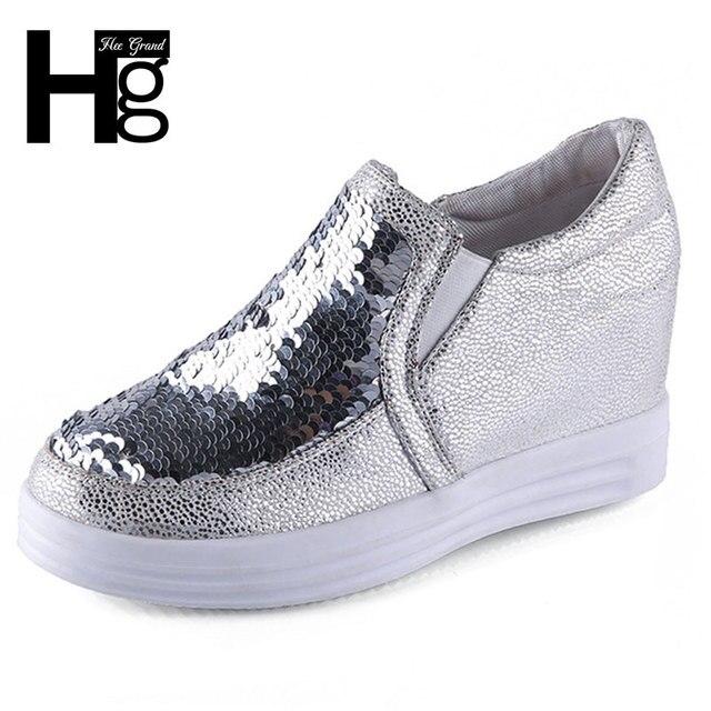 ХИ GRAND 2017 Новые Моды для Женщин Повседневная Обувь Bling Женщина Туфли На Платформе Размер 35-39 XWC1024