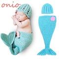 Moda Bebé Recién Nacido Foto Atrezzo Outfit Crochet Punto Mermaid Costume Girl Fotografía Prop Traje de Lana S6024