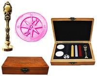 Vintage Cross Compass Custom Luxury Wax Seal Sealing Stamp Brass Peacock Metal Handle Sticks Melting Spoon