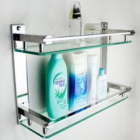 MTTUZK DIY 304 stainless steel shelves bathroom glass rack two layers bathroom makeup rack washbasin storage rack prateleiras