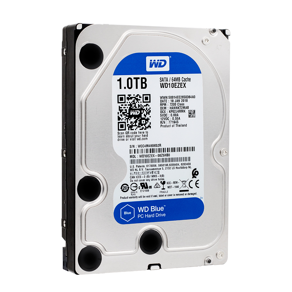 Western Digital WD Bleu 1 TB hdd sata 3.5 pouce WD10EZEX de bureau DISQUE DUR Interne 7200 RPM SATA 6 Gb/s Cache 64 MB HDD DISQUE