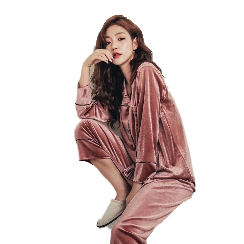 2020 Autumn Winter Women Pajama Set Pajamas Deep Gold Velvet Sexy Home Wear High Quality Warm Pajama Elegant Sleepwear Suit