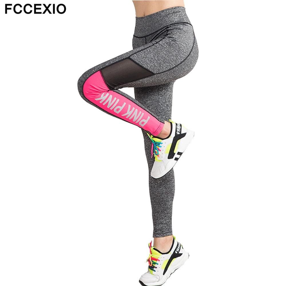 FCCEXIO 2019 Women Pink Letter Print Workout Leggings Women High Waist  PINK Plus Size Slim Fitness Legging Sporting Legging