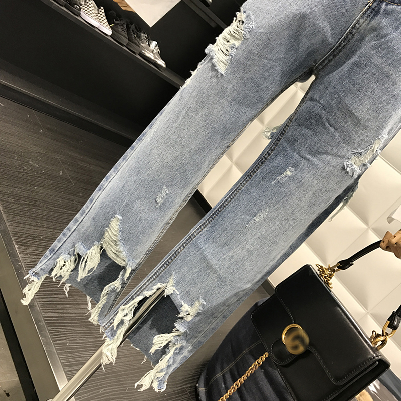New 2019 Straight Jeans Women Denim Pants Holes Destroyed Pants Casual Trousers Oversized 100kg Stretch Ripped Jeans Plus Size 6