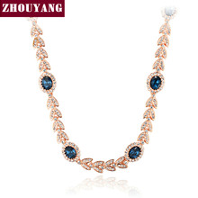 ZHOUYANG Top Quality Classic Crystal Wedding Necklace Rose Gold Color Fashion Jewellery ZYN205 ZYN215 ZYN216(China)