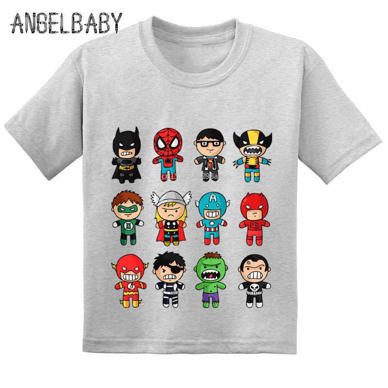 Забавные детские футболки с супергероями из мультфильма «мстители» Летняя Детская Хлопковая футболка с короткими рукавами футболки для мальчиков и девочек GKT228