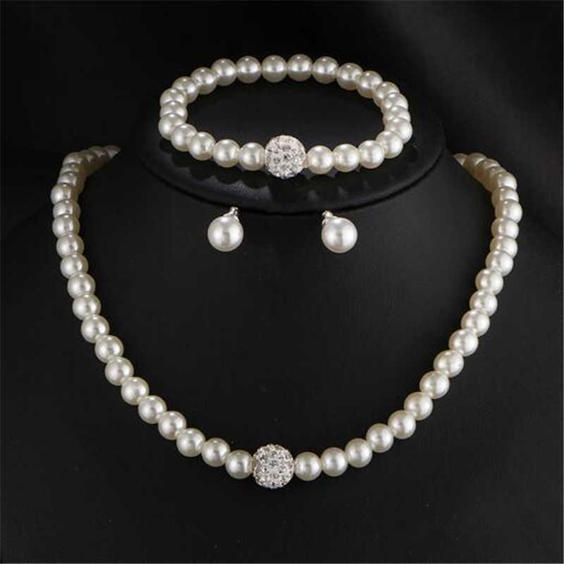 ZOSHI Sliver Color Simulated Pearl Jewelry Sets For Women Vintage Necklace Crystal Earrings Bracelet Party Wedding Accessories