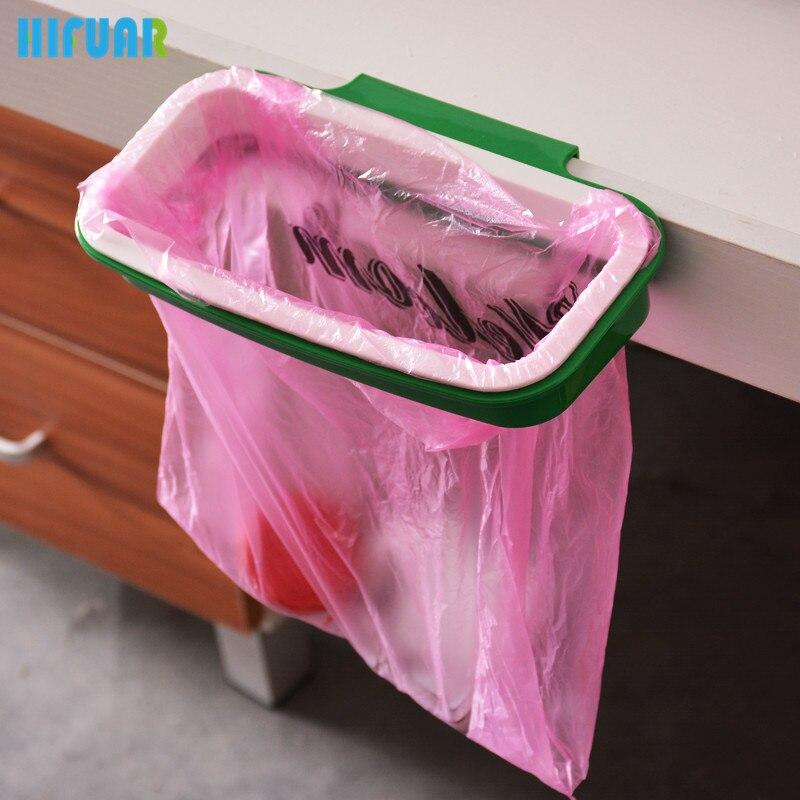 Hifuar Cupboard Door Back Trash Rack Storage Sink Garbage Bag Holder Kitchen Specialty Tools Cabinet Hanging Trash Can Waste Bin