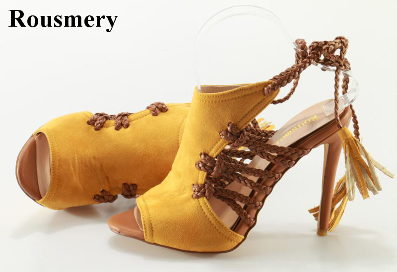 New Fashion Women Open Toe Yellow Suede Leather High Heel Gladiator Sandals Cut-out Rope Lace-up High Heel Sandals Dress Shoes new arrival fashion brown tassel high heel women sandals open toe suede party dress shoes woman size 34 to 42 knot frienge