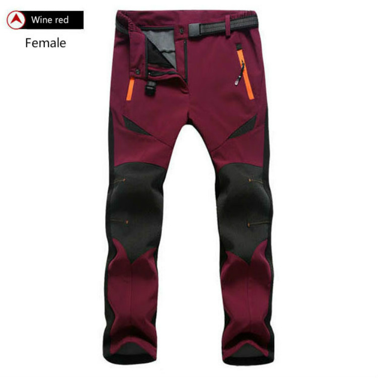 Outdoor Men's And Women's Windproof Waterproof Winter Thickening Thermal Lovers' Soft Shell Climbing Cardigan Pants