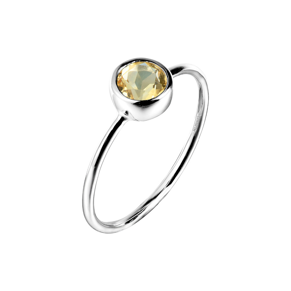 DORMITH Gemstone Rings Natural Real Citrine Women Silver for 925-Sterling-Silver