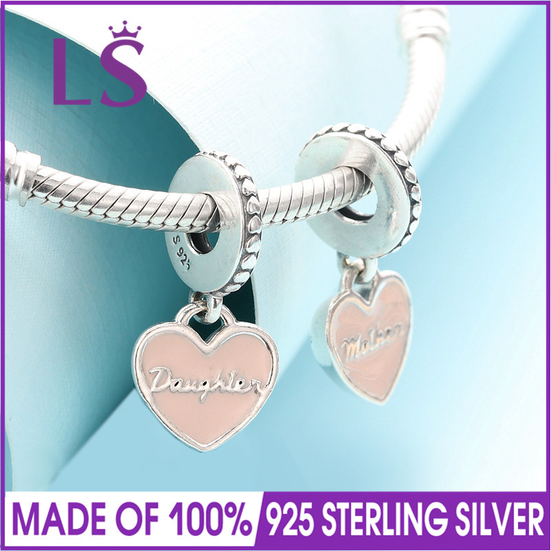 LS Real 925 Sterling Silver Mother & Daughter Hearts Pink Dangle Charm Fit Original Charm Bracelets Beads for Diy Jewelry Gifts
