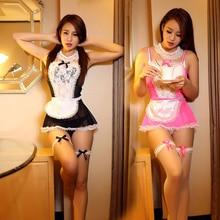 Сексуальные костюмы горничной Женщины Эротическое белье сексуальное 3 вида цветов Прозрачный Кружева Voile французской горничной косплей белье Хэллоуин равномерное