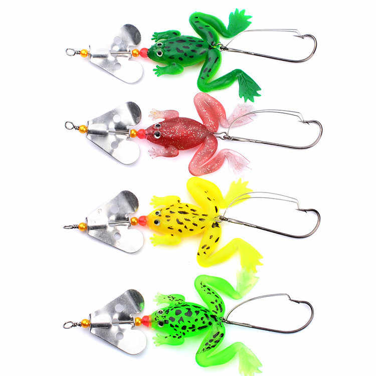 2019 New frogs Fishing Lure  Rubber Soft Fishing Lures Bass SpinnerBait spoon Lures carp fishing tackle