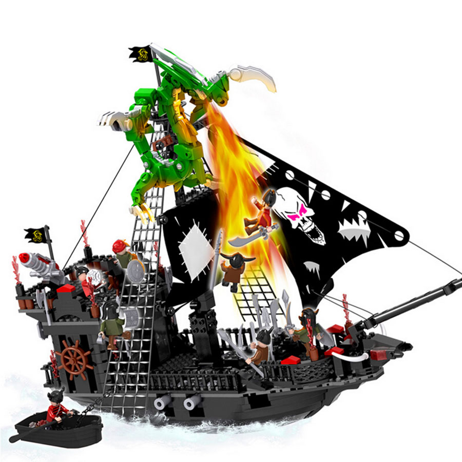 COGO 13119 617Pcs Caribbean Pirate Black Pearl Ship Ghost Ship large Models Building Blocks educational Children Toys Gift ahoy ghost ship ahead 2