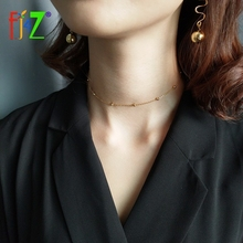 F.J4Z Hot Sexy Lightly100% Real S925 Sterling Silver Necklace Fashion Designer Simple Little Gold Ball Female Short