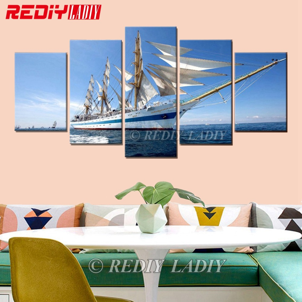DIY Diamond Painting Cross Stitch Triptych Diamond Mosaic Sailboat 5 Panels Modular Picture Wall Arts Crystal Diamond EmbroideryDIY Diamond Painting Cross Stitch Triptych Diamond Mosaic Sailboat 5 Panels Modular Picture Wall Arts Crystal Diamond Embroidery