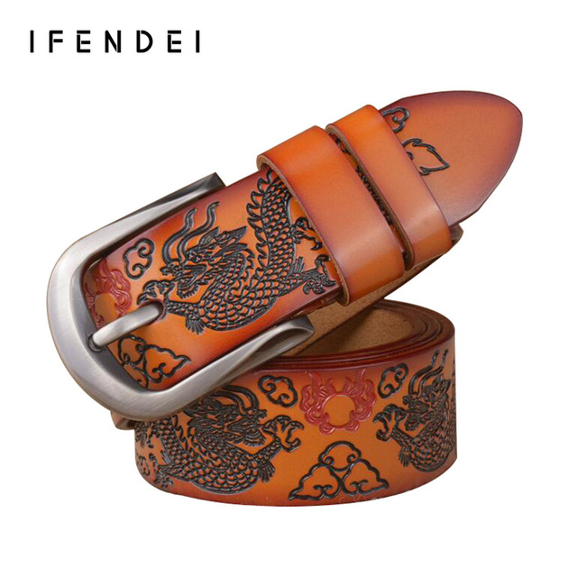 IFENDEI New Genuine Leather Belt Men Fashion Dragon Designer Belts Men's Embossed Painting Strap Casual Wild Buckle Belt Waist