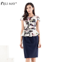 JLI MAY Cotton and Linen Office Lady Dresses Elegant Floral Short Sleeve Sashes O Neck Midi Dress Women for Work plus size