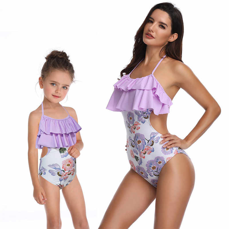 a9f8470fe73f2 Mother and Daughter Swimsuit Mommy and Me Swimwear Bikini Family Matching  Clothes Outfits Look Mom Mum Baby Dresses Clothing
