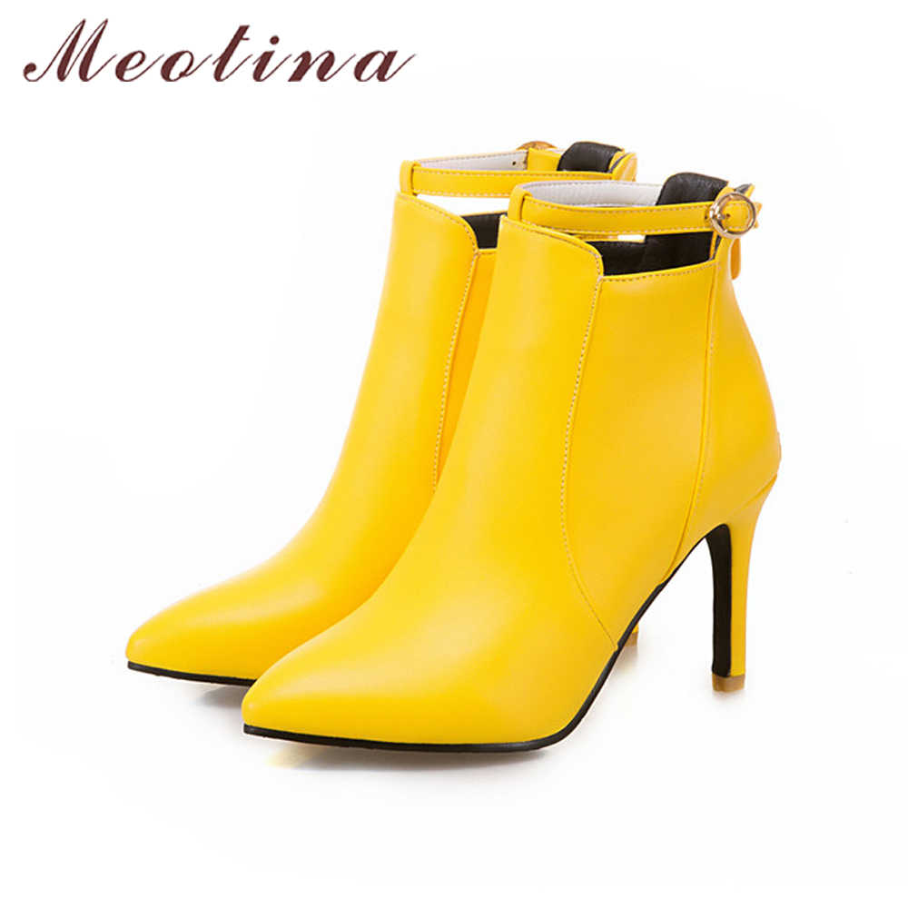 Meotina kadın botları kış yarım çizmeler yüksek topuklu Zip beyaz çizmeler bayan sonbahar ayakkabı sivri burun el yapımı ayakkabı siyah sarı