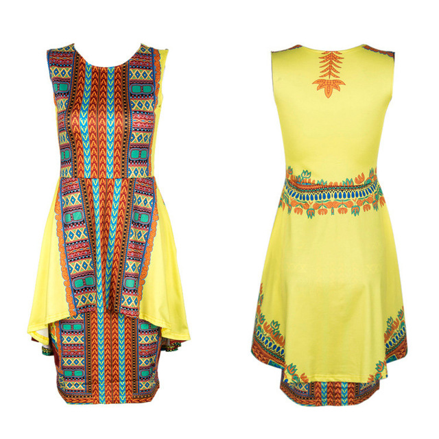 7354bf0455 Africa Clothing Traditional African Print Dashiki PartyDresses  sleevelessDress Plus Size Tops Sfrican Woman Bazin y05