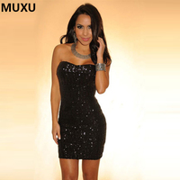 MUXU Summer New Women Sexy Party Dress Bodycon Club Short Mini Black Sequin Dress Vestidos Mujer