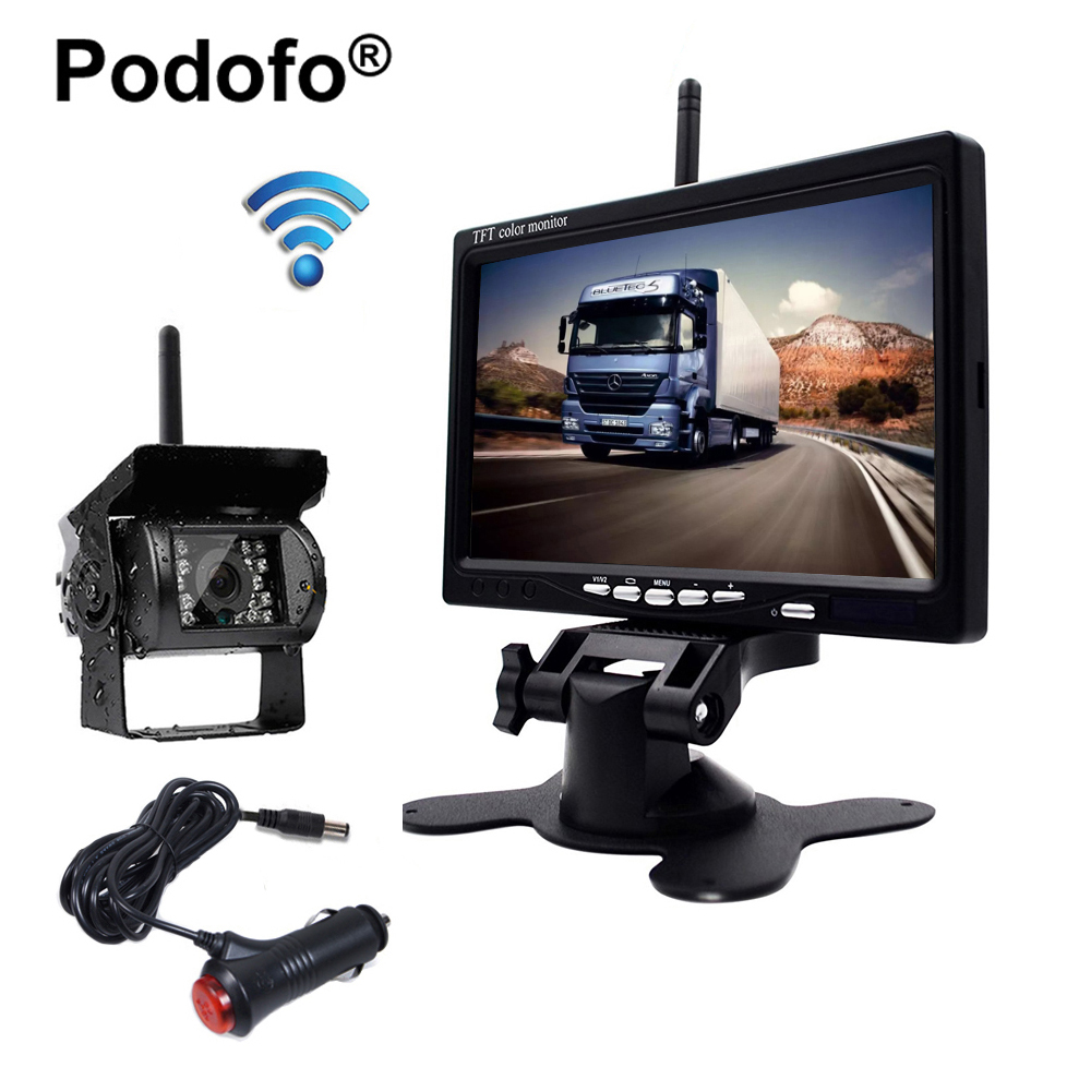 Podofo Wireless 7 TFT LCD Vehicle Rear View Monitor Waterproof Backup Camera & IR Night Vision Parking System with Car Charger
