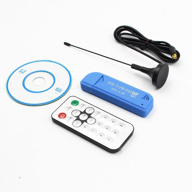 ТВ-ресивер, ТВ-тюнер, USB 2,0, синий, ТВ-флешка DAB FM DVB-T RTL2832 R820T SDR, ИК-пульт дистанционного управления с антенной, флешка