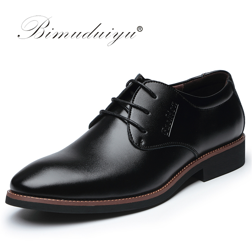 BIMUDUIYU Luxury Brand High Quality Oxford Dress Shoes Lace Up Business Casual Shoes Male Formal Flat Shoes Work Shoes Sapatos