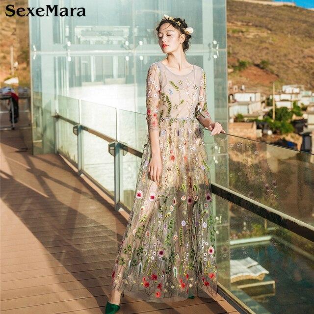 SexeMara Hohe Qualität Frauen Sommer Maxi Kleid Floral Vintage Boho Stil  Mesh Stickerei Prinzessin Lange Kleider 82de52128c