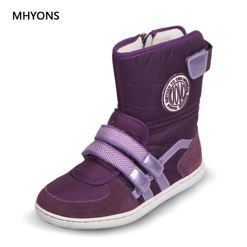 MHYONS New Winter Girls Boots Children Shoes Leather Waterproof Boots Kids Snow Boots Brand Girls Boys Rubber Fashion Sneakers