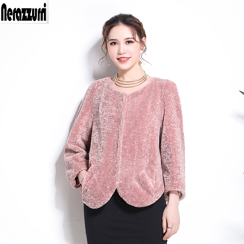 Nerazzurri Short Faux Fur Teddy Jacket Women 2019 Winter Cropped Top Teddy Bear Coat Plus Size Sheared Lamb Fur Outwear 6xl 7xl