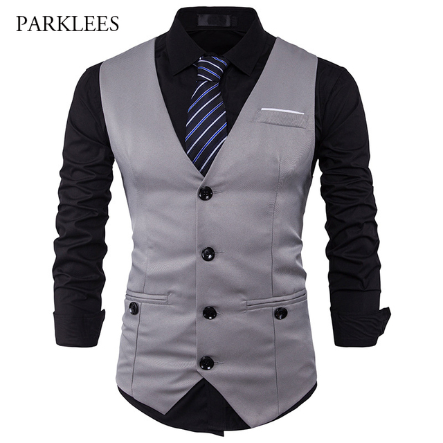 Mens Suit Vest 2017 Brand Sleeveless Casual Vest Men Slim Fit Vest Waistcoat Business Wedding