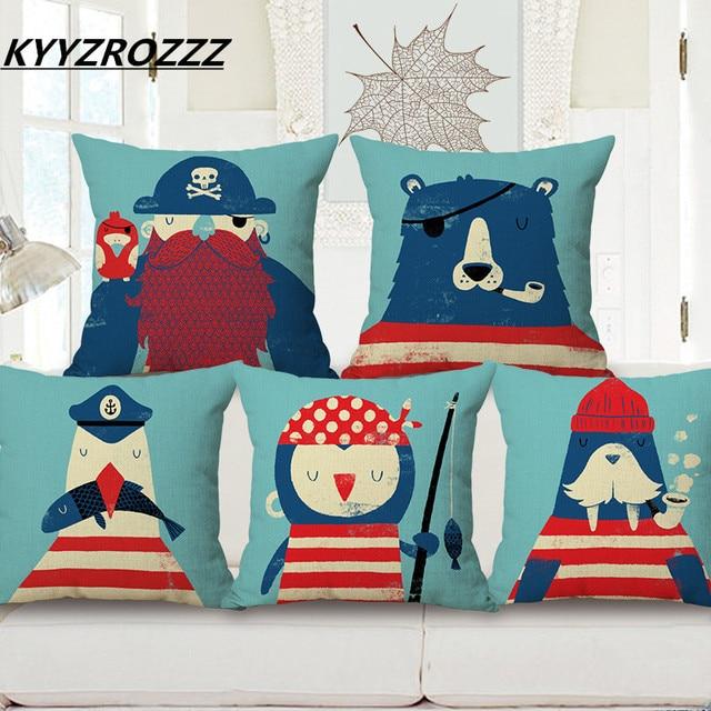 Kyyzrozzz Marine Ocean Animal Style Patterns Square 18 Cotton Linen Sea Horse Sofa Throw Cushion