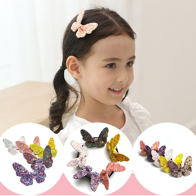 2pcs New Fashion Cute Simulated Sequin Butterfly Hair Clips Hairpins Lovely Kids Girls Children Barrettes Hair Accessories 2017 new fashion hair clips for girls santa claus christmas tree snowman elk pattern xmas hairpins barrettes hair accessories